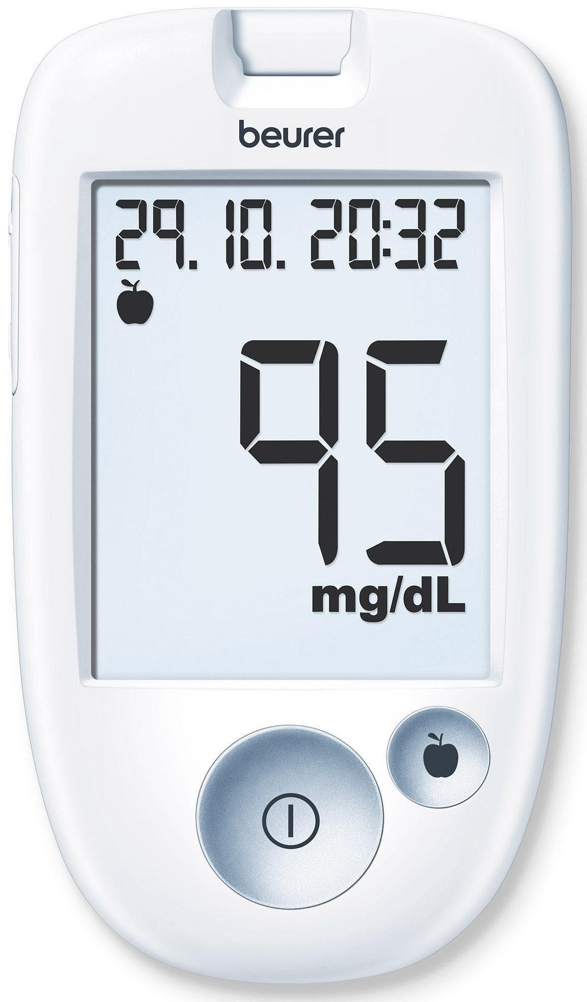 BEURER Blutzuckermessgerät Beurer GL 43 mg/dL, Set, Einfache Messwertmarkierung für optimiertes Diabetesmanagement: vor dem Essen, nach dem Essen, generelle Markierung