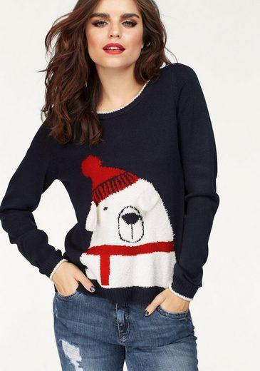 Only Rundhalspullover X-POLARBEAR, mit Weihnachtsmotiv