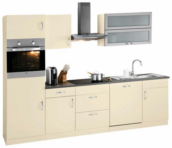 wiho Küchen Küchenzeile »Amrum«, mit E-Geräten, Breite 280 cm, mit Induktionskochfeld