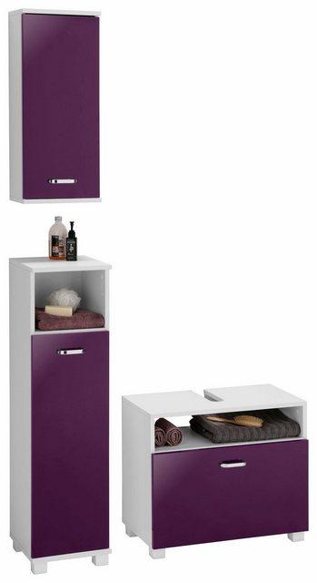 Badezimmer Sets - Schildmeyer Badmöbel Set »Colli«, (Set, 3 St), aus Hochschrank, Waschbeckenunterschrank und Hängeschrank, Badezimmerschränke mit Metallgriffen und viel Stauraum  - Onlineshop OTTO