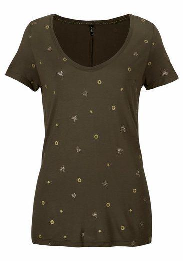 Only V-Shirt ISABEL, mit Glitzer Druck