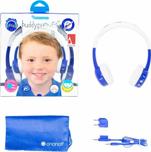 buddyphones™ »Inflight, blau« Kinder-Kopfhörer