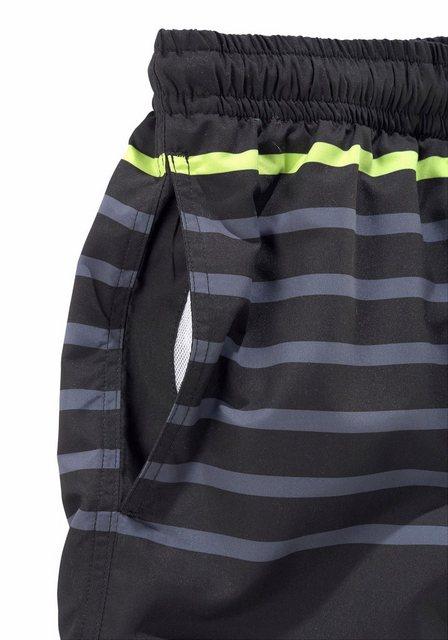Badeshorts »Marc« mit platzierten Streifen | Bekleidung > Bademode > Badeshorts | Grau