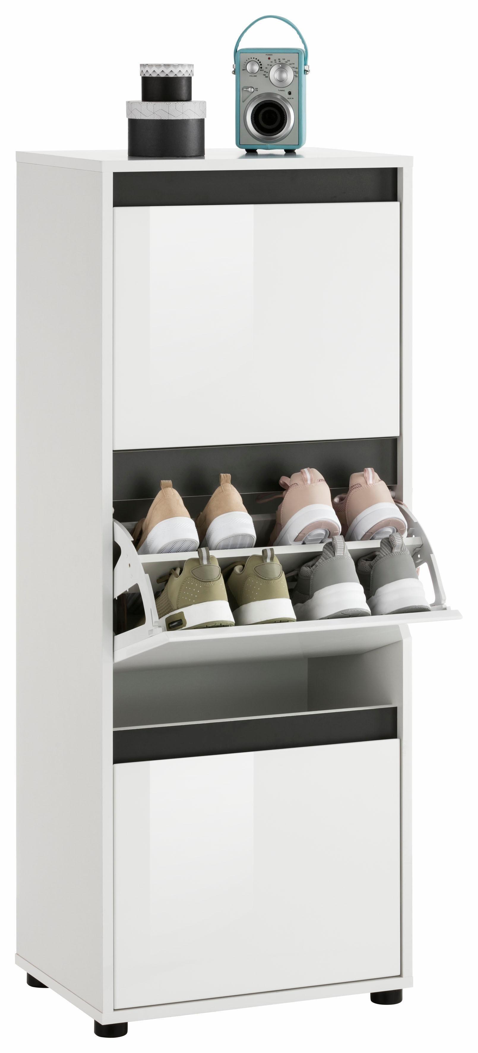 trendteam Schuhschrank »Sol« mit Wechselblende | Flur & Diele > Schuhschränke und Kommoden > Schuhschränke | Weiß - Grau - Glanz | Melamin | trendteam