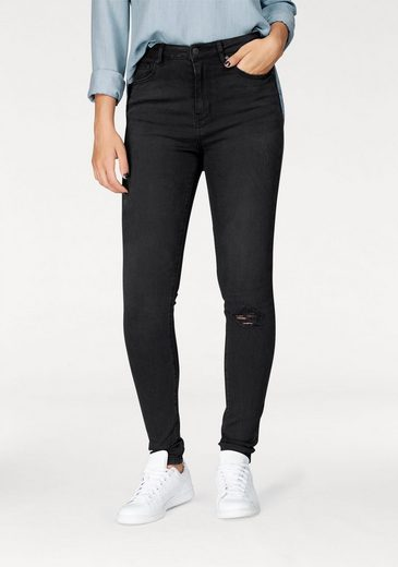 Only High-waist-Jeans PEARL, mit Destroyed-Effekt