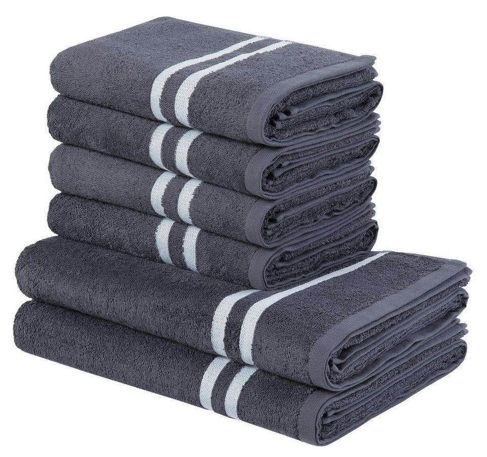 handtuch set my home freddy mit kontrastfarbiger. Black Bedroom Furniture Sets. Home Design Ideas