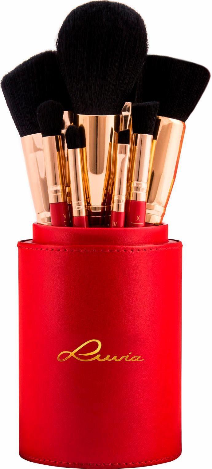 Luvia Cosmetics, »Divine Red«, Veganes Make-up Pinselset mit Pinselhalter