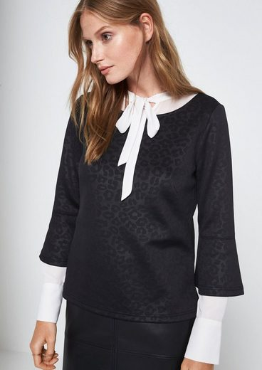 COMMA 3/4-Arm Shirt mit aufregendem Ton-in-Ton Muster