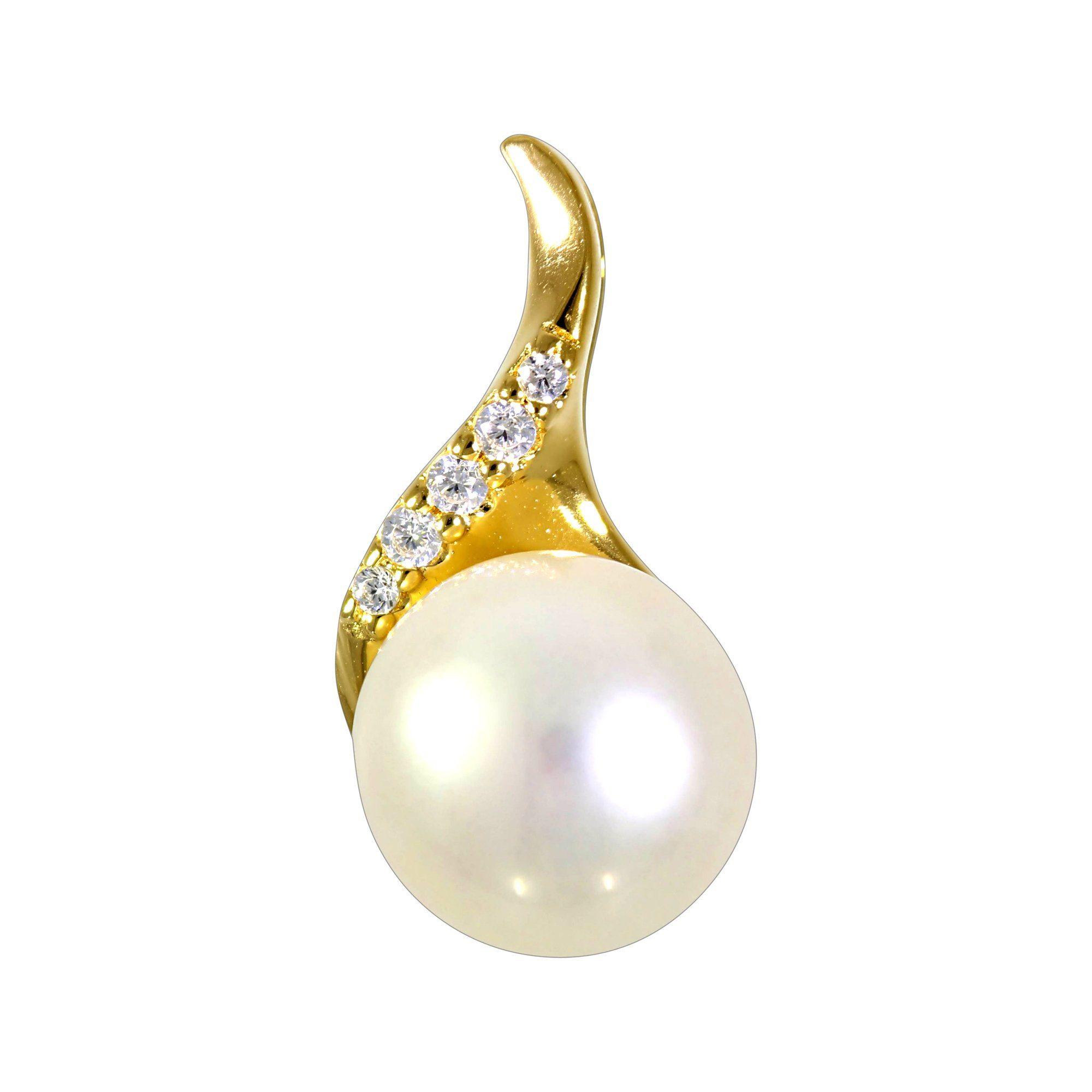 Firetti Anhänger »925/- Silber vergoldet Perle & Zirkonia«