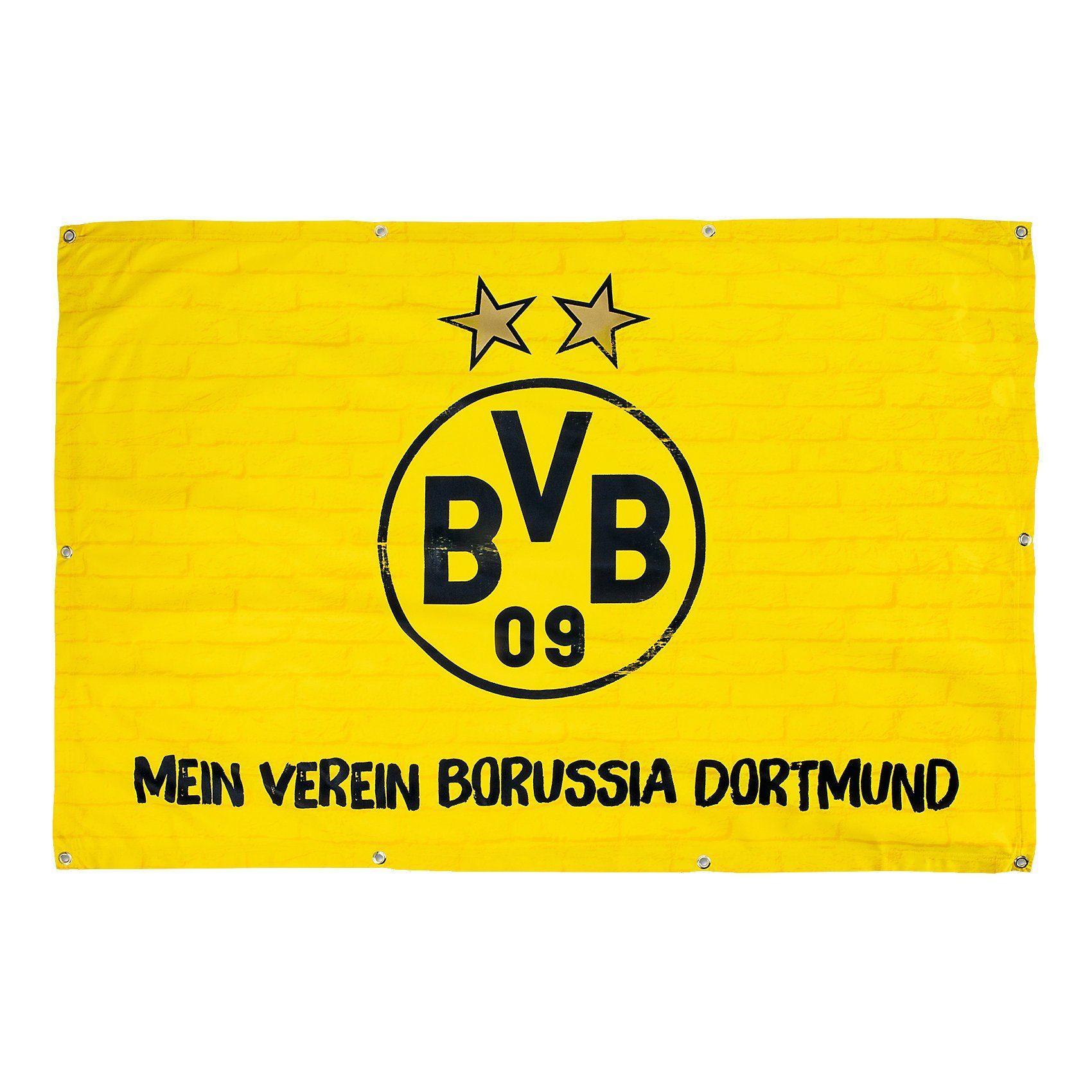 Balkonfahne BVB, Mein Verein Borussia Dortmund, 100 x 150 cm