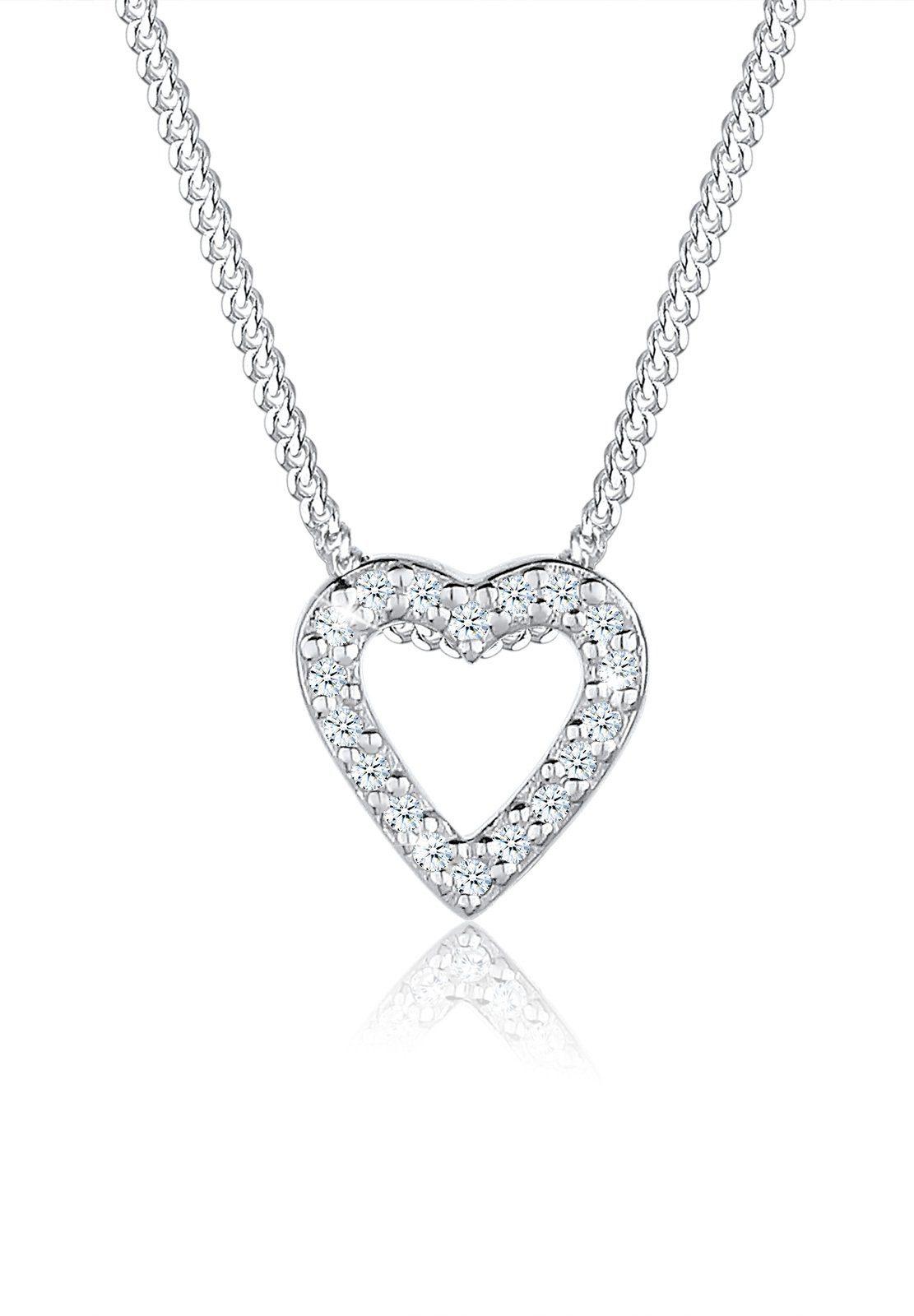 Elli Halskette »Herz Liebe Diamant (0.18 ct.) 925 Silber Sophie«