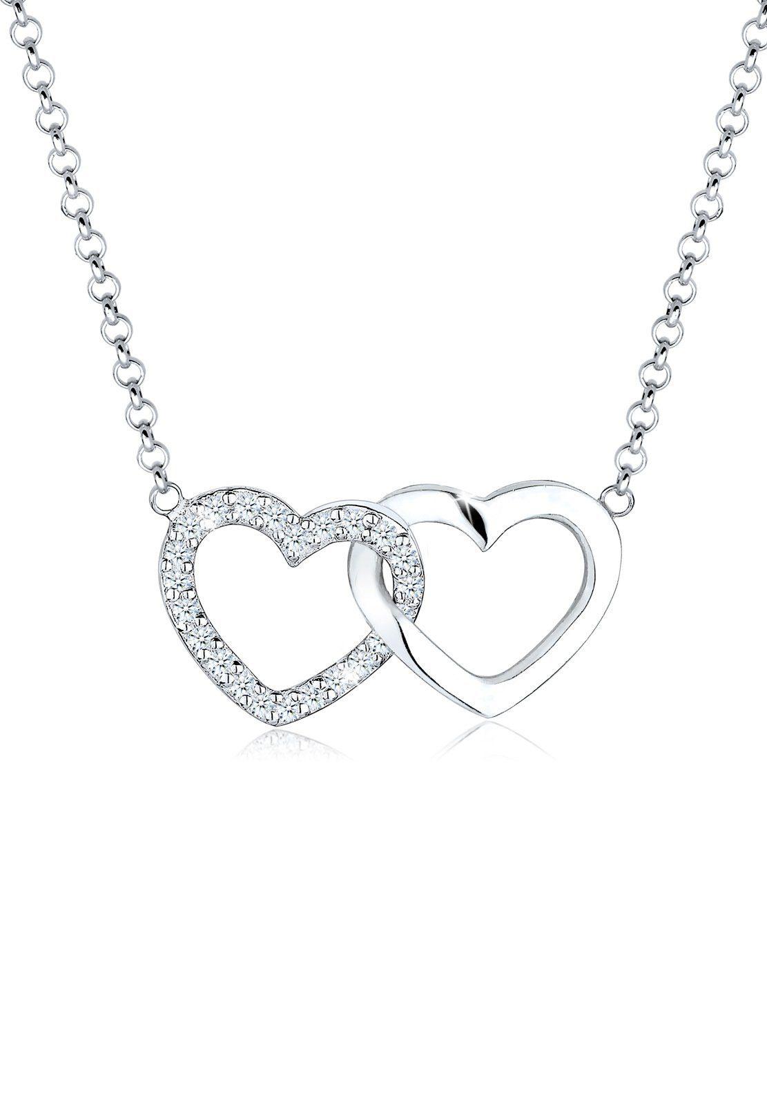 Elli Halskette »Herz Verbundenheit Diamant 925 Sterling Silber S01«