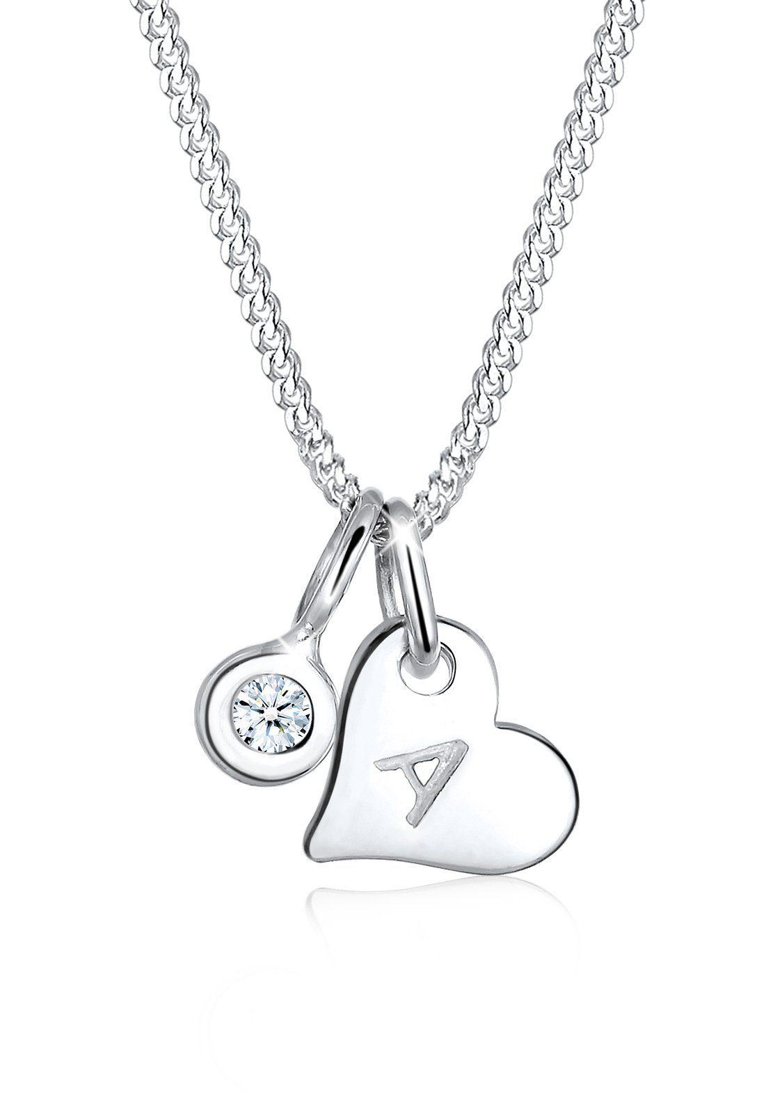 Elli Halskette »Herz Initialie Diamant 925 Sterling Silber«