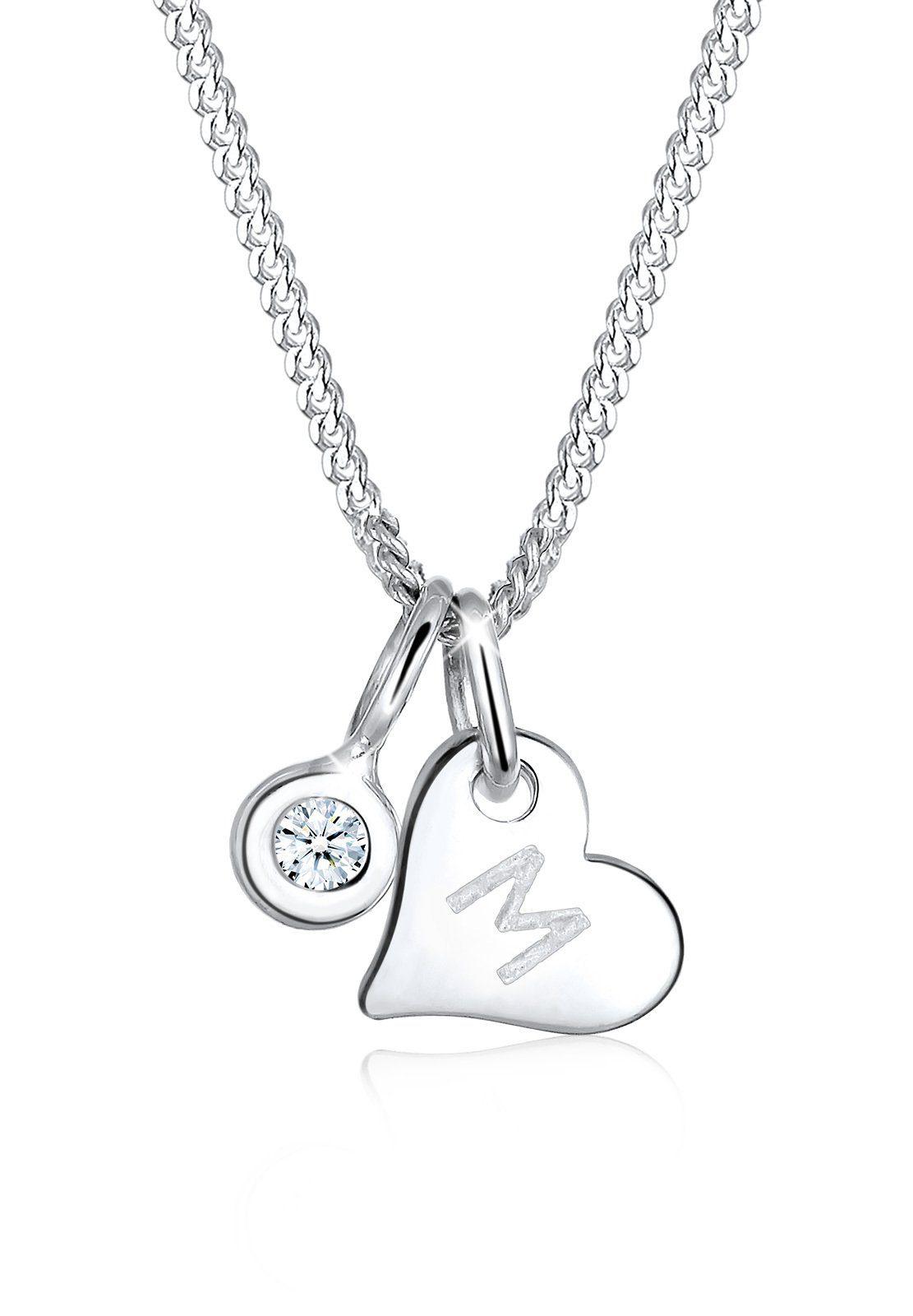 Elli Halskette »Herz Buchstabe Diamant 925 Sterling Silber«