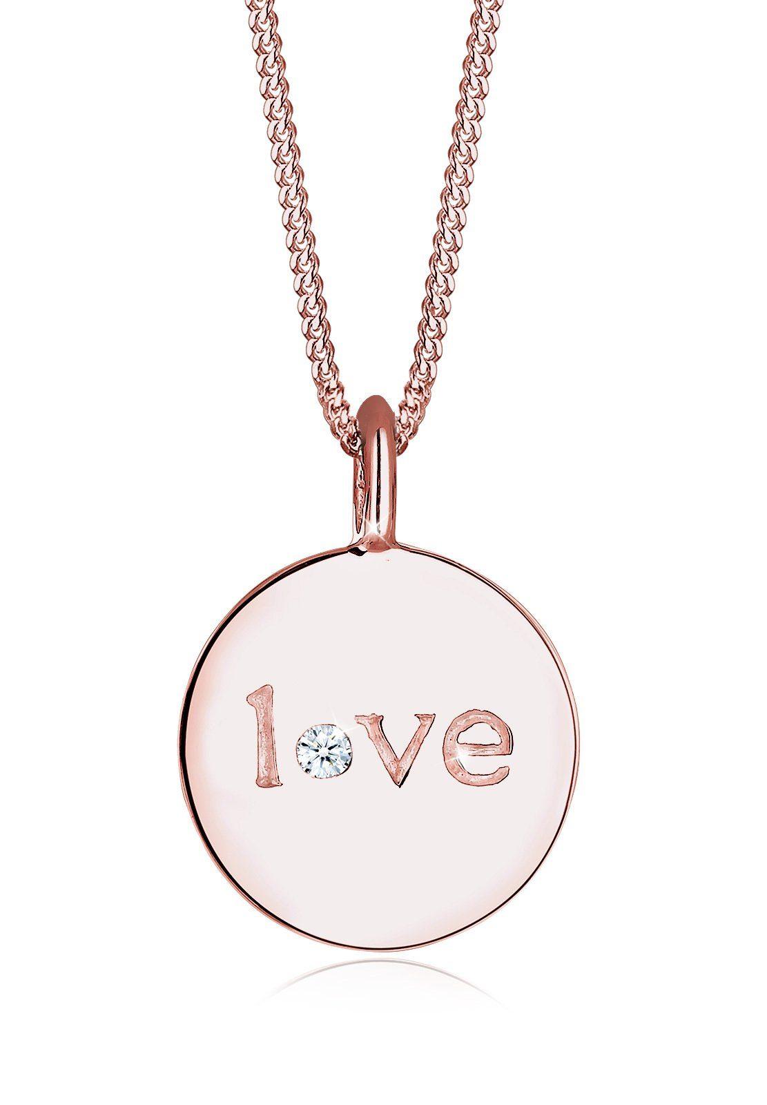 Elli Halskette »Love-Schriftzug Diamant 925 Sterling Silber«