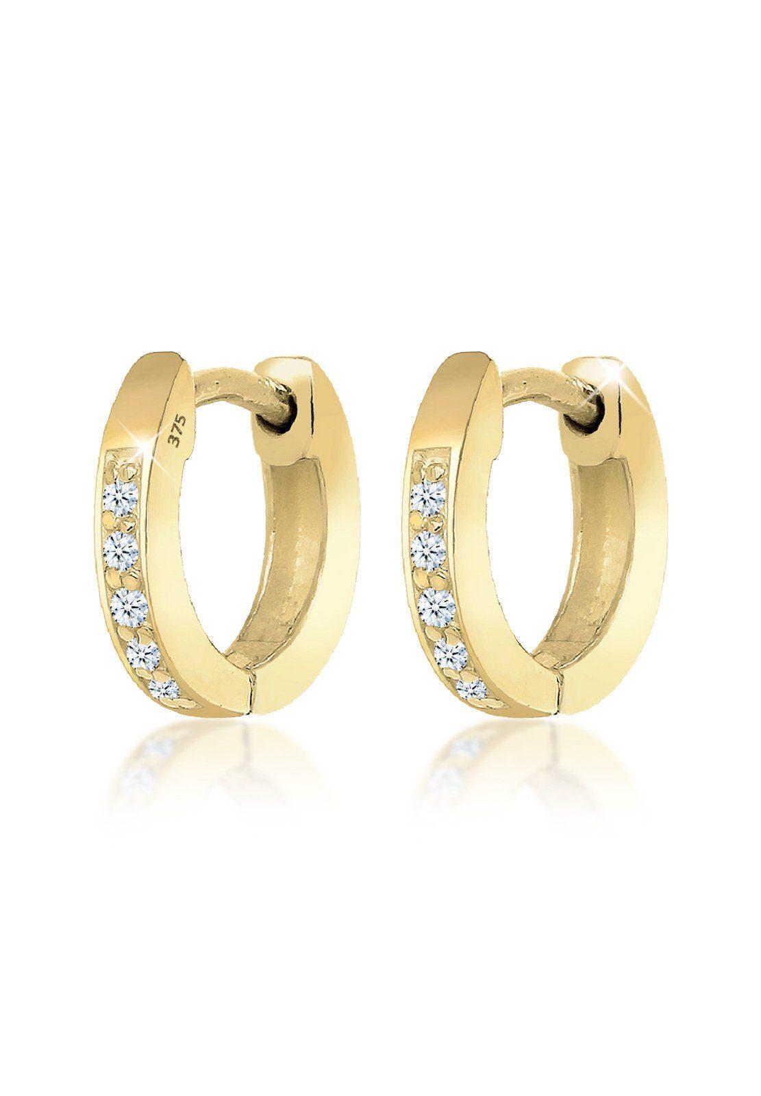 Elli Ohrringe »Creolen Basic Diamant (0.10 ct.) 375 Gelbgold Sita«