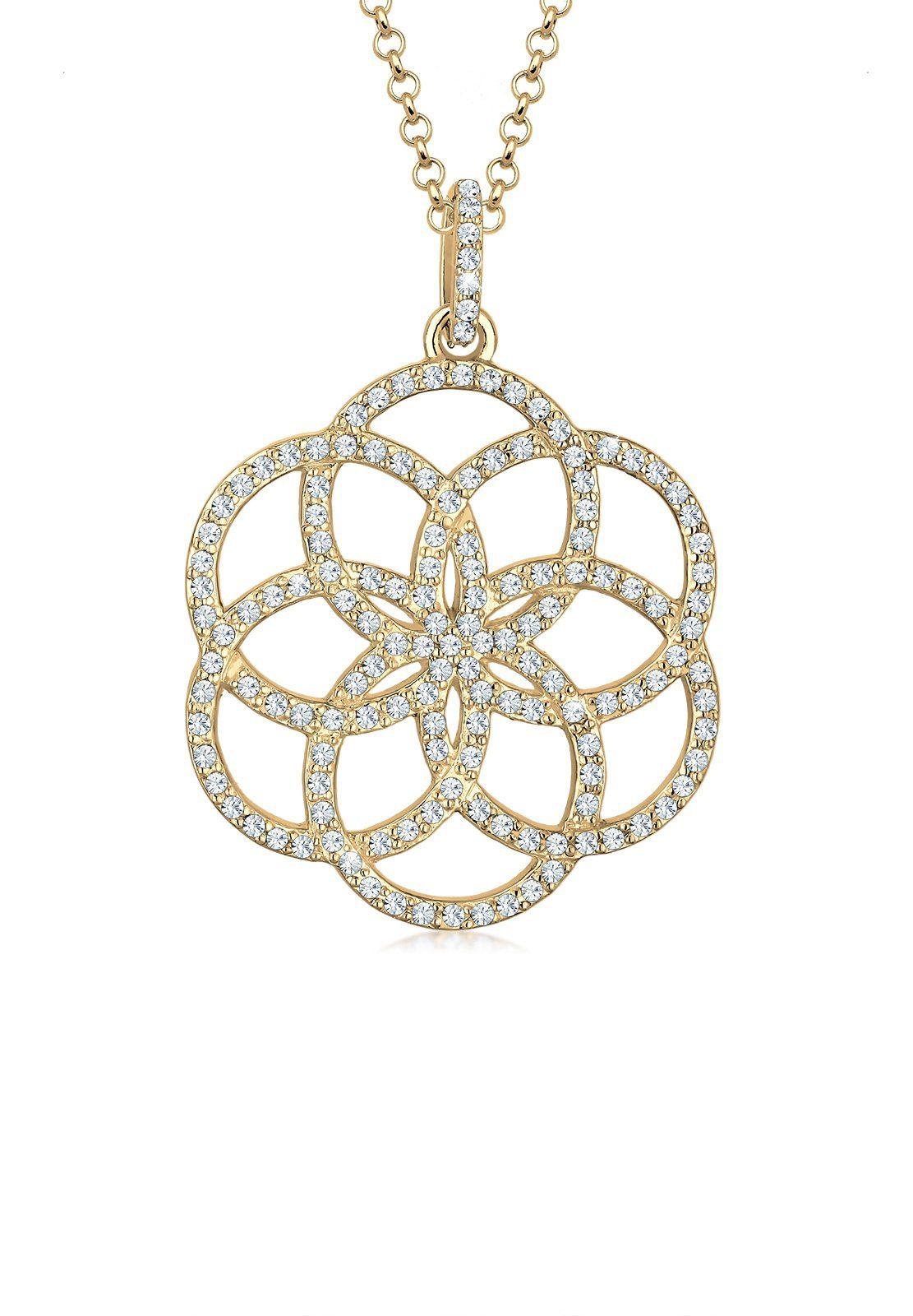925 SILBER Collier Kette Medaillon Halsketten mit Damen Anhänger 3D Silberblüte