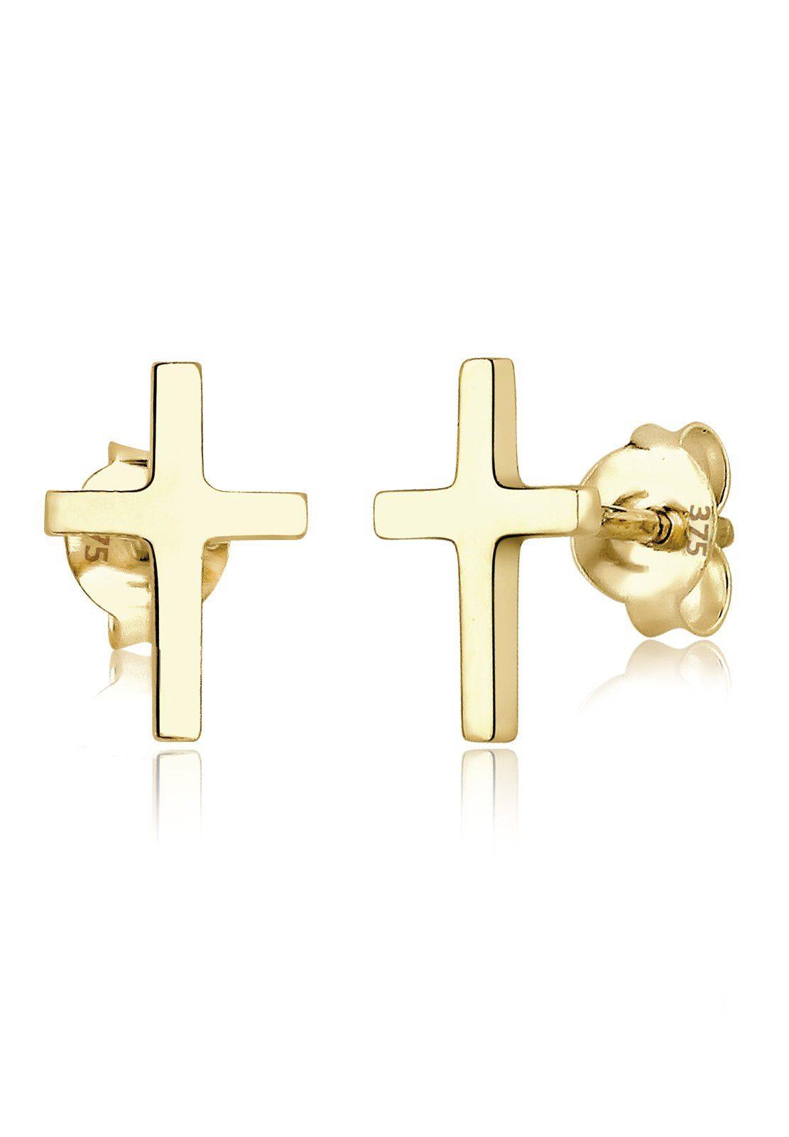 Elli Ohrringe »Kreuz Taufe Kommunion Basic 375 Gelbgold«