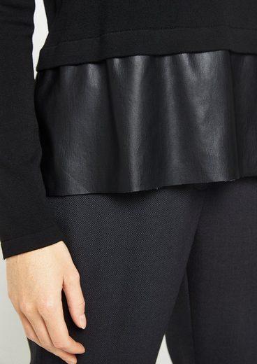 COMMA Strickpullover mit Fake-Leder Besatz