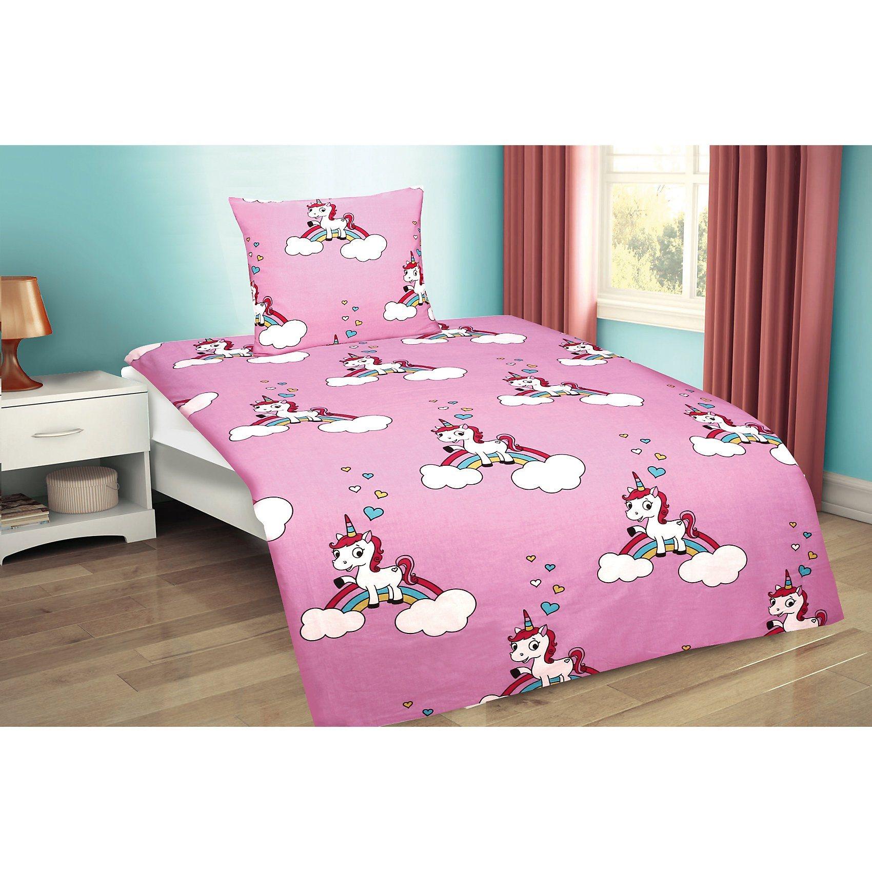 Kinderbettwäsche Einhorn, Crétonne, 135 x 200 cm | Kinderzimmer > Textilien für Kinder > Kinderbettwäsche | Baumwolle