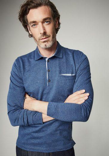 Pierre Cardin Longsleeve With Herringbone Pattern, Meliert- Modern Fit Le Bleu