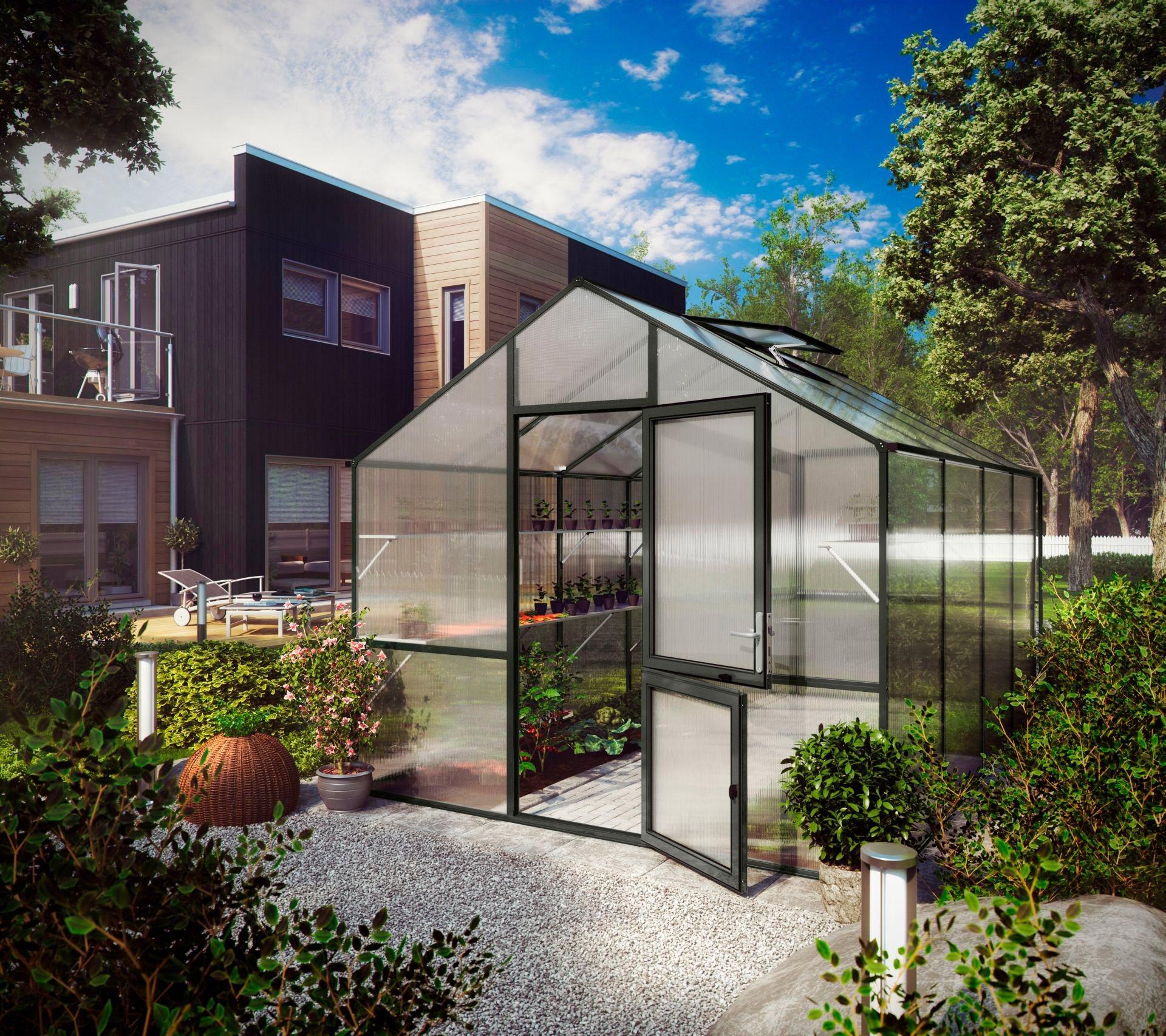 KGT Gewächshaus »Lilie IV«, BxTxH: 297x429x268 cm, anthrazit, inkl. Regenrinne | Garten > Gewächshäuser | KGT