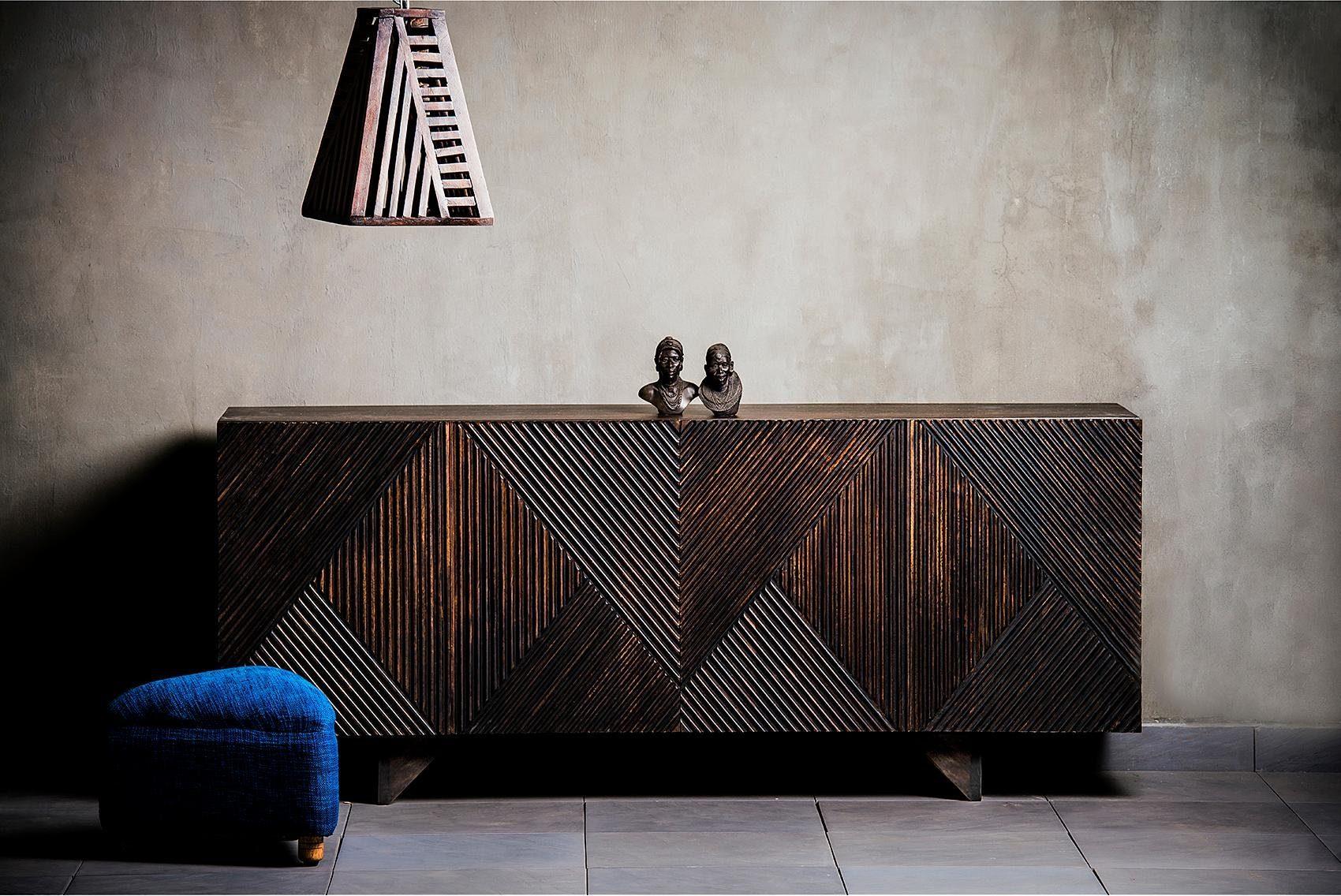 Home affaire Sideboard »Dove«, mit schönen Fräsungen im Schachbrettmuster auf den Fronten der Türen, Breite 177 cm