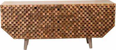 COUCH♥ Sideboard »Crookston«, mit wunderschönen Fräsungen im kleinen Schachbrettmuster-Look, Breite 177 cm, COUCH Lieblingsstücke