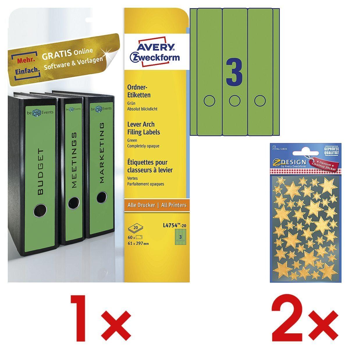 ZWECKFORMAVERY 1 Pack Ordnerrücken-Etiketten inkl. 2 Pack Weihnachtssti... »Sterne« 1 Set