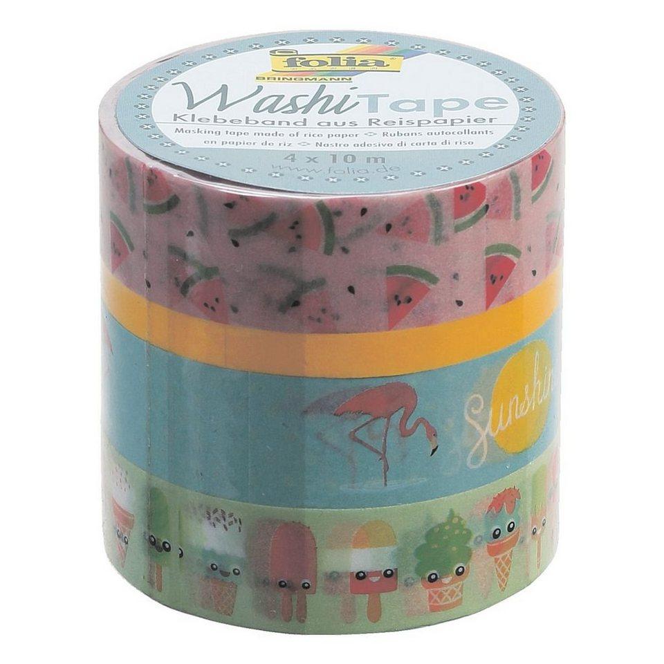 Folia 4er Set Deko Klebeband Washi Tape Farbig Sortiert Tropical