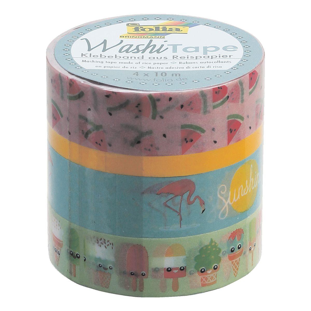 Folia 4er Set Deko-Klebeband Washi-Tape farbig sortiert »Tropical«