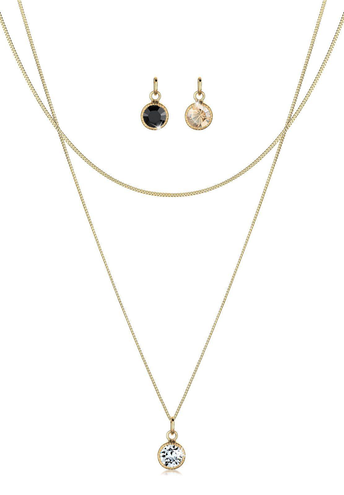 Goldhimmel Set: Halskette »Anhänger-Set Swarovski Kristalle 925 Silber« 3 tlg.