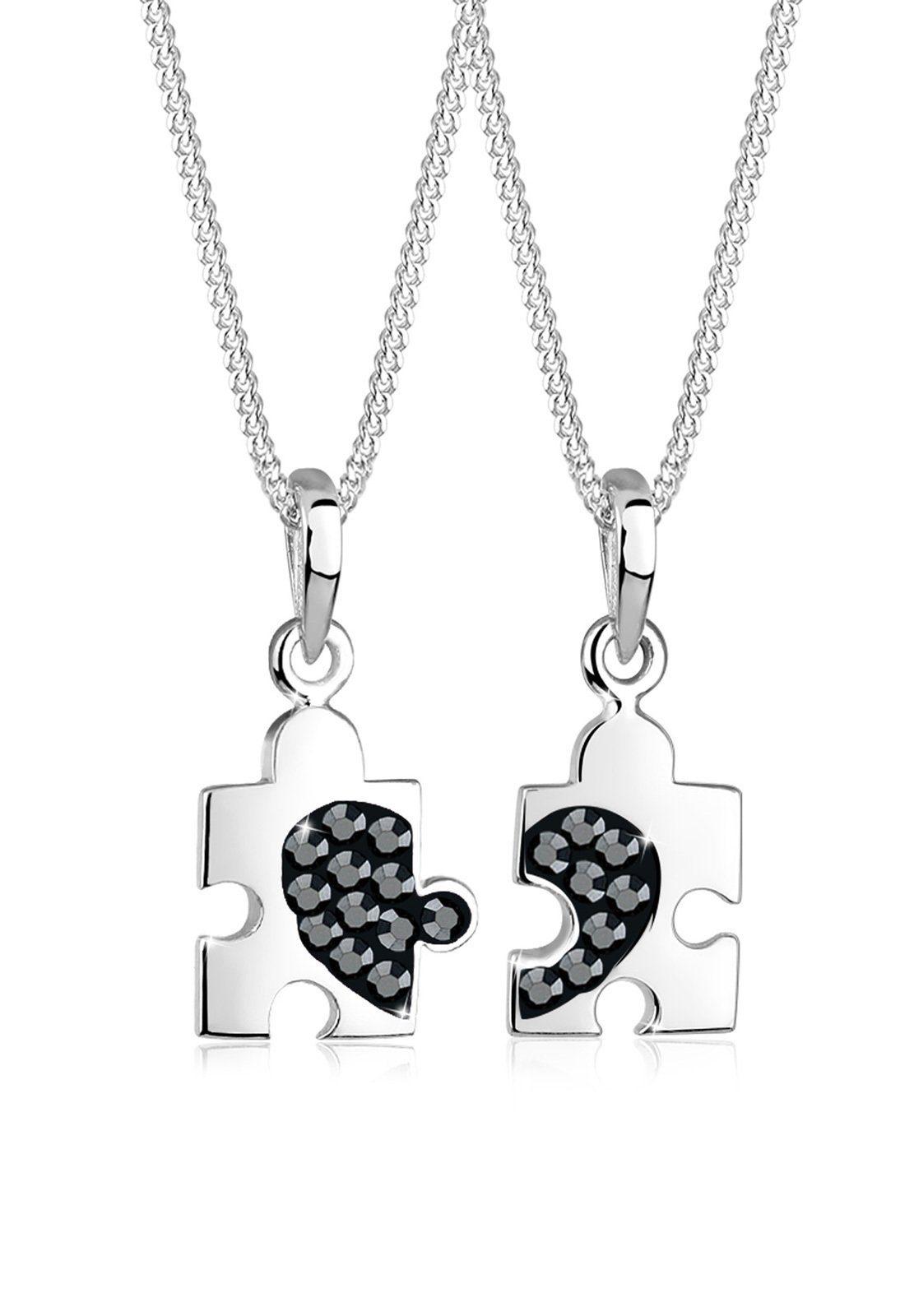 Elli Set: Halskette »Set Partner Puzzle Swarovski® Kristalle 925 Silber« 2 tlg.