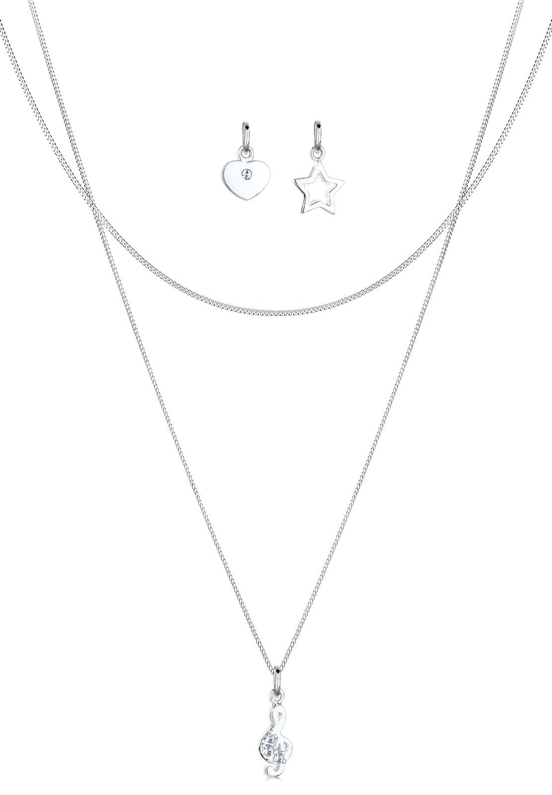Elli Set: Halskette »Anhänger-Set Notenschlüssel Stern Herz 925 Silber« 3 tlg.