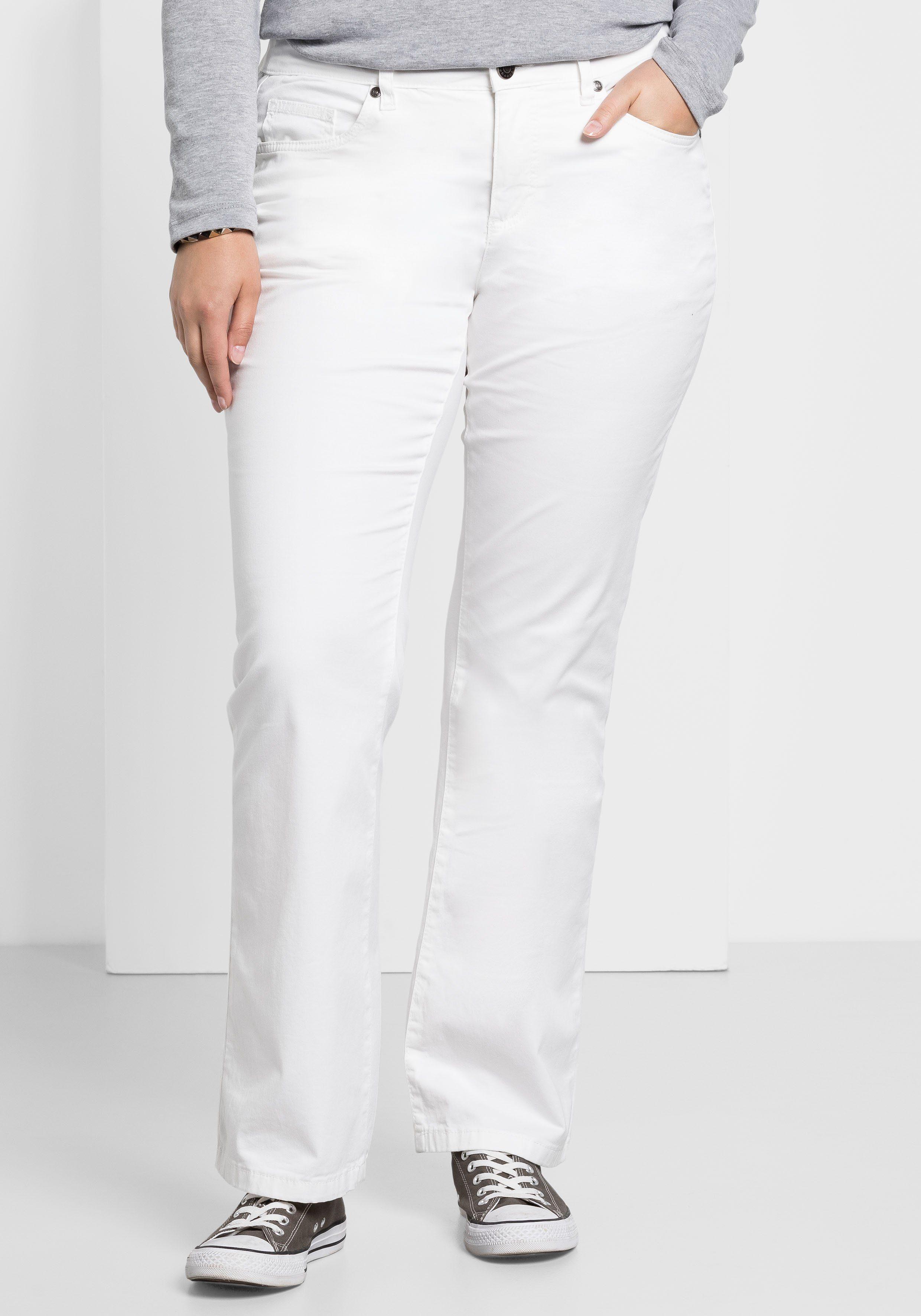 sheego Hose Damen elastische Stretch-Hose Große Größen Langgröße Freizeit Weiß
