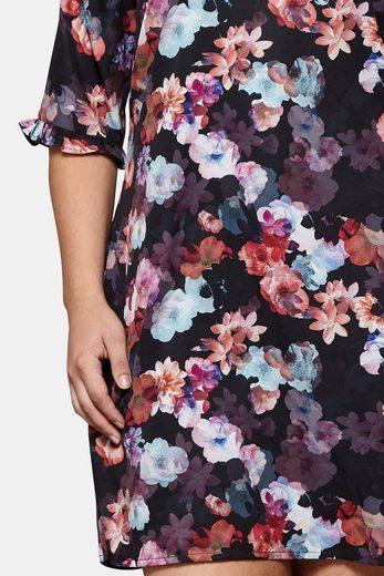 Yumi Curves Tunikakleid Penny, mit floralem Muster und gerüschten Ärmeln