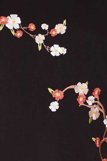 Yumi Rundhalspullover Constance, mit Blütenstickerei