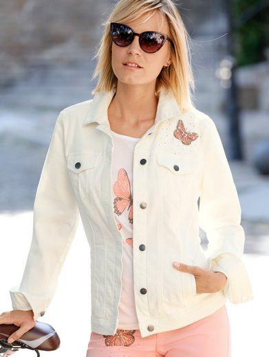 Dress In Jeansjacke mit Schmetterlingsstickerei