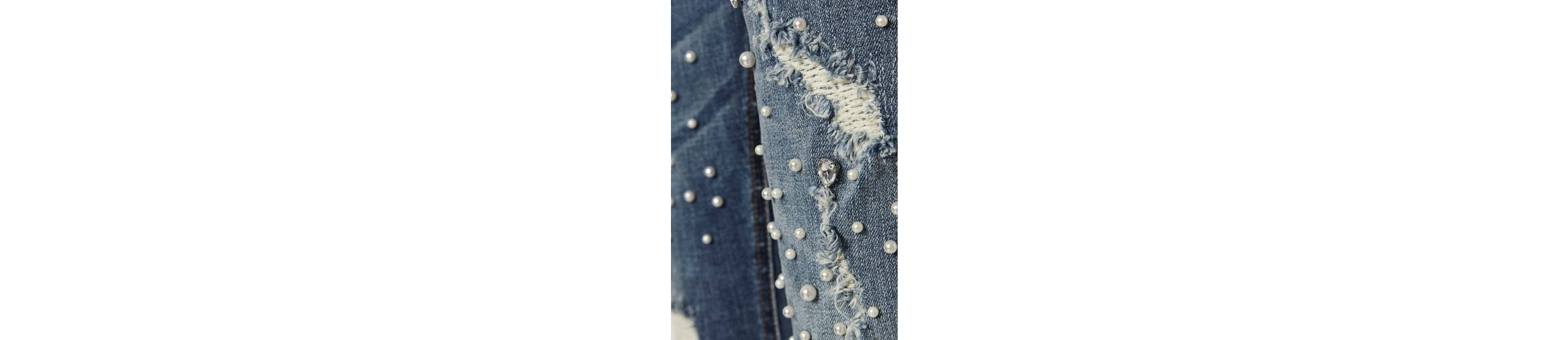 Cream Destroyed-Jeans Dolly Billig Verkaufen Low-Cost 3n5IVfwRjv