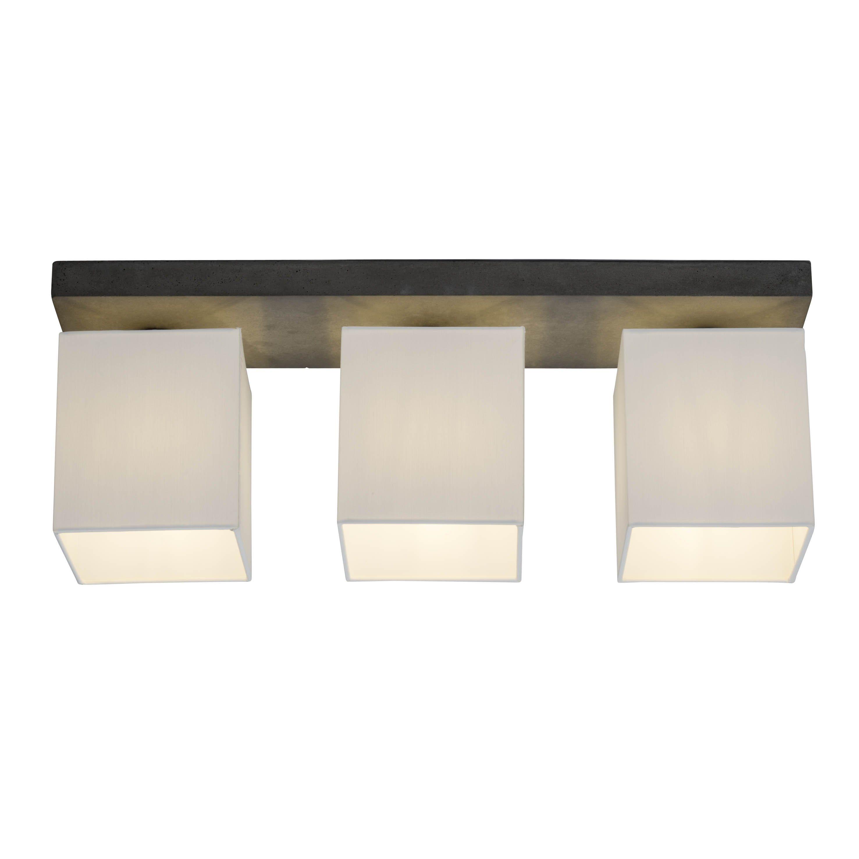 Brilliant Leuchten Monty Deckenleuchte 3flg beton/weiß | Lampen > Deckenleuchten > Deckenlampen | Weiß | Beton - Textil | Brilliant Leuchten