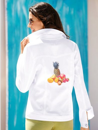 Dress In Denim Jacket With Fruits Pressure