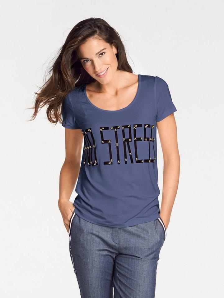 Damen heine  TIMELESS Rundhalsshirt mit Zierperlen blau | 08698269337245