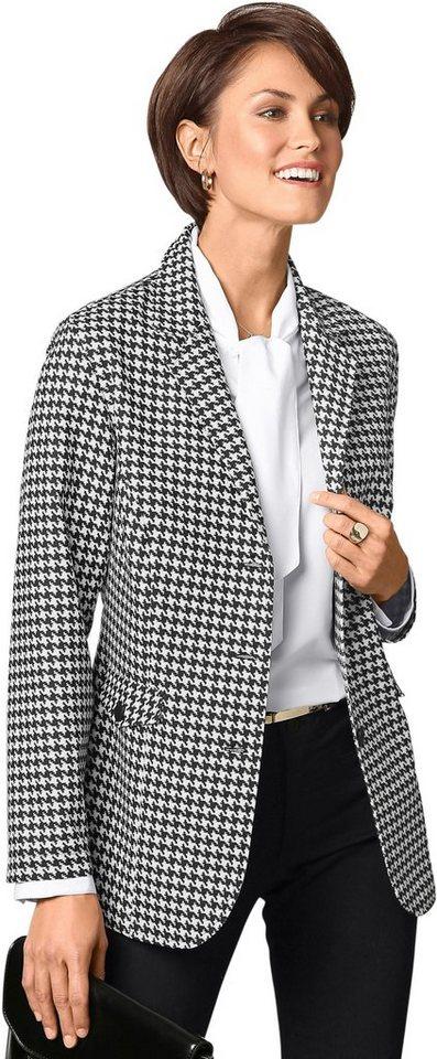 Damen Classic Basics Blazer im klassischen Hahnentritt-Muster weiß | 08935222143643