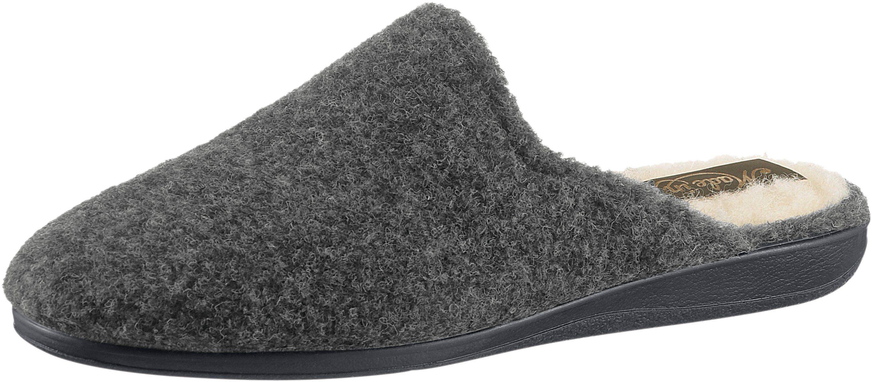 Pantoffel mit rutschhemmender Gummi-Laufsohle  grau