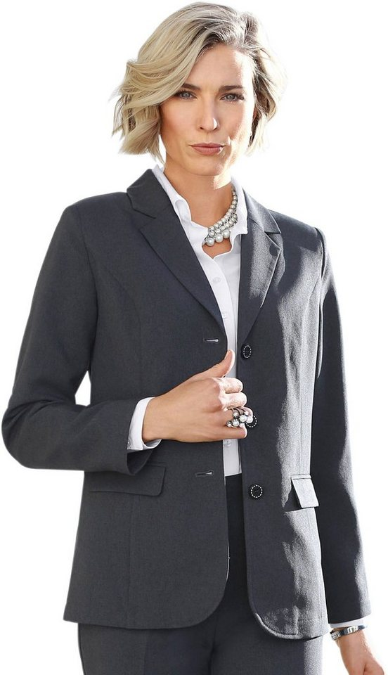 Damen Classic Basics Blazer mit Wiener Nähten grau | 08935258760357