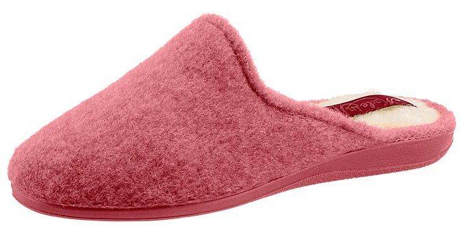 Pantoffel mit rutschhemmender Gummi-Laufsohle | Schuhe > Hausschuhe > Pantoffeln | Rosa | Schurwolle - Gummi