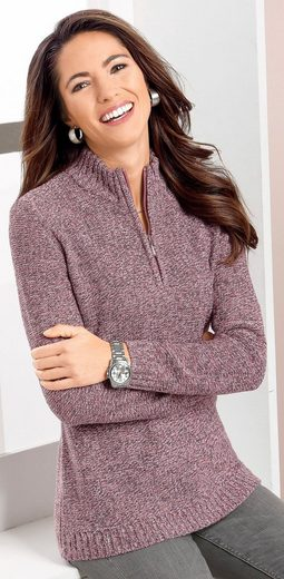 Classic Basics Pullover mit Reißverschluss mit silberfarbigem Anhänger