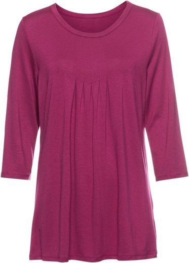 Classic Basics Shirt Tunic With Decorative Fold Partie At Clipping