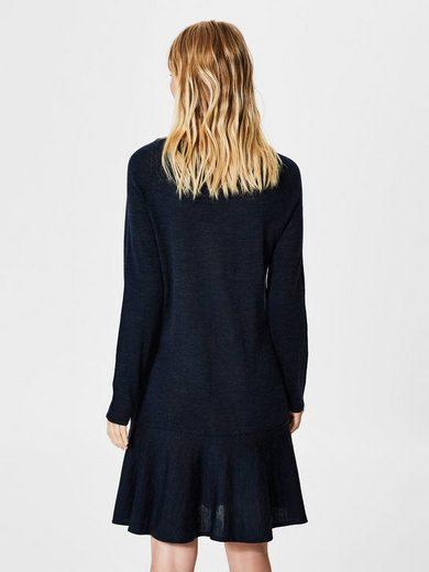 Selected Femme Peplum- Kleid mit langen Ärmeln