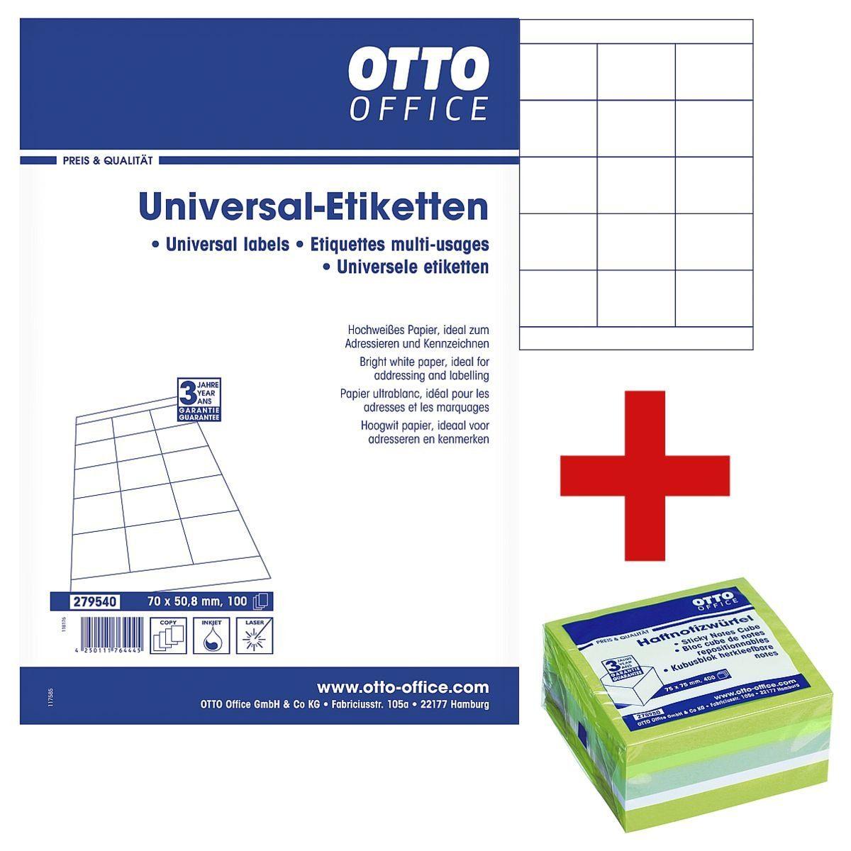 OTTO Office Standard 1500er-Pack Universal Klebeetiketten inkl. Haftnotizwürfel 1 Set